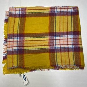 NWT Old Navy Plaid Blanket Scarf Yellow Red Blue
